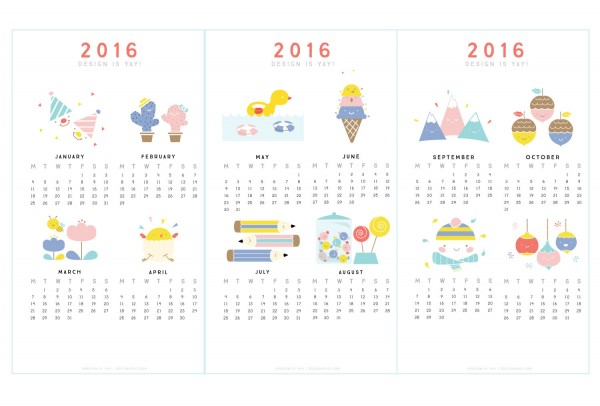 printable calendars for 2016 super cute kawaii