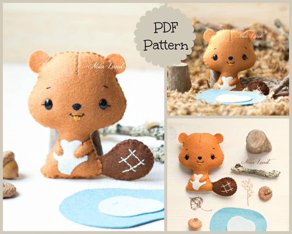 kawaii beaver plush pattern