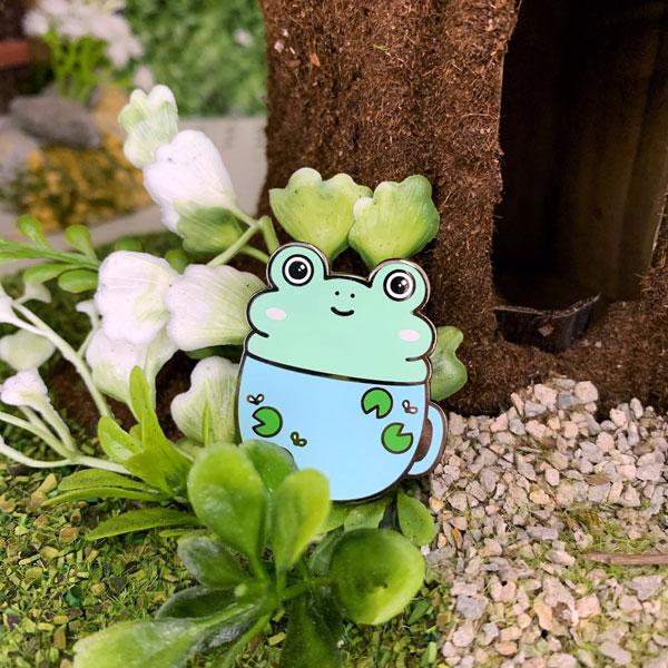 Cute Self Care Enamel Pins - frog in a mug