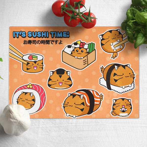 kawaii sushi tiger chopping board