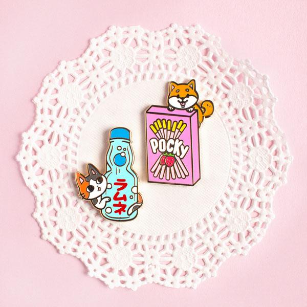 Cute Self Care Enamel Pins - japanese snacks