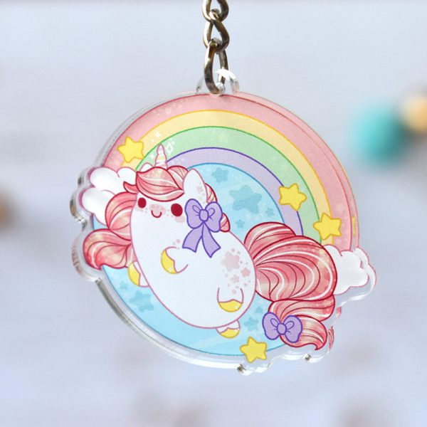 kawaii keychains unicorn rainbow