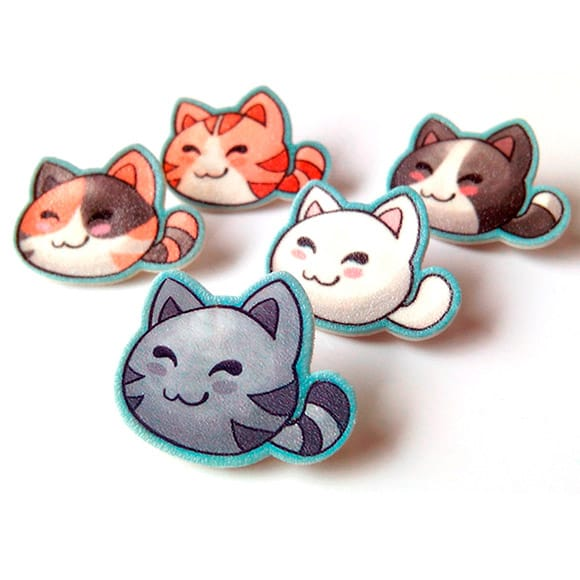 kawaii cat pins