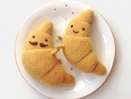 kawaii croissants felted decorations