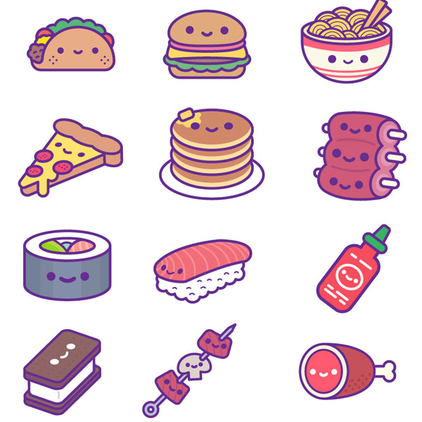Kawaii Message Stickers - food by 100% Soft
