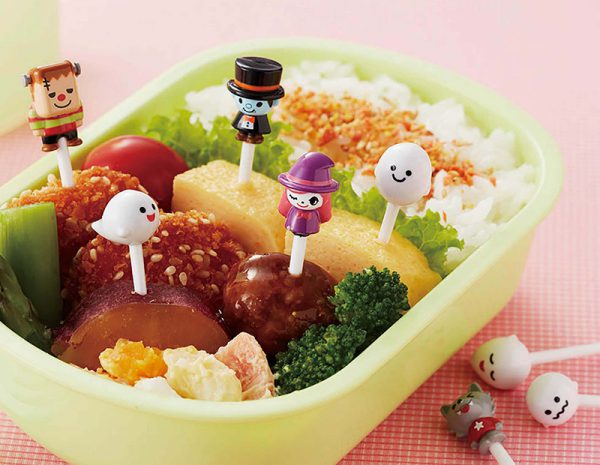 kawaii ghost halloween bento picks
