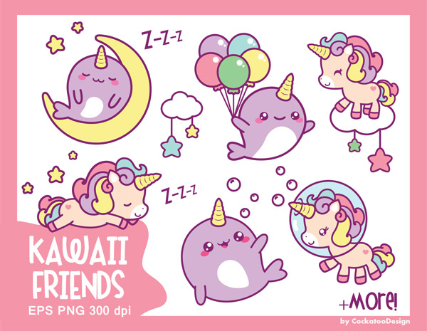 Kawaii Printable Journal Stickers unicorn and narwhal clip art