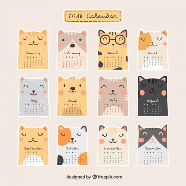 Kawaii Printable Journal Stickers cats calendar