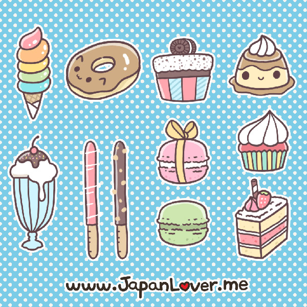 Kawaii Printable Journal Stickers sweets clip art