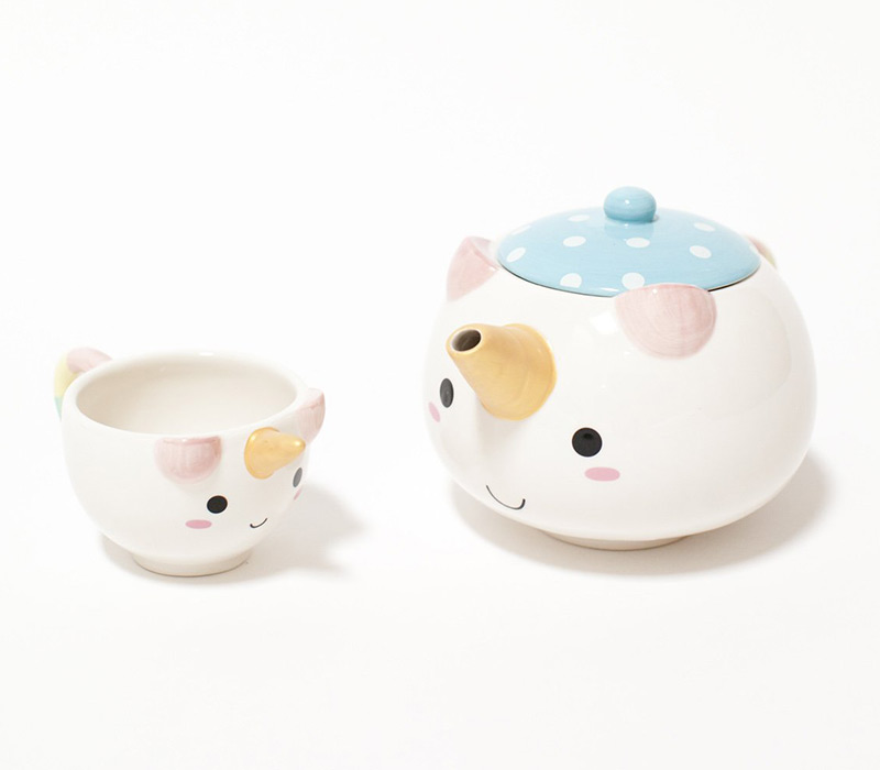 kawaii unicorn tea set
