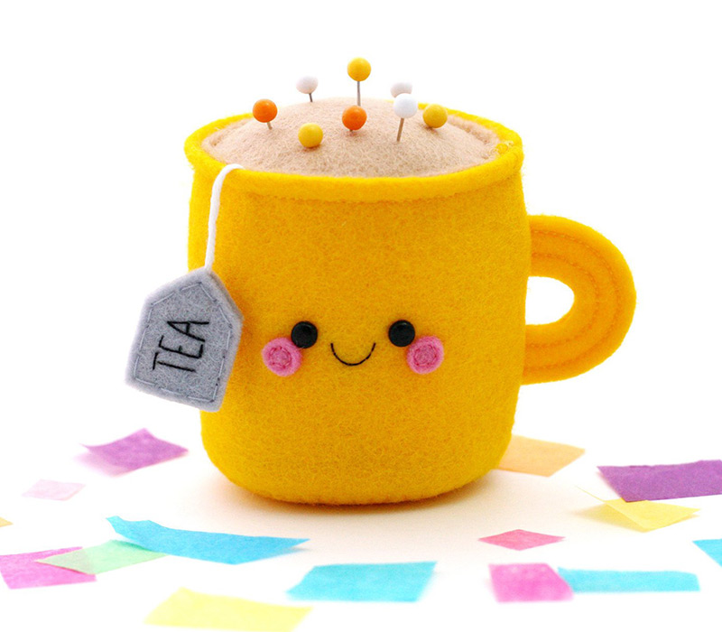 kawaii felt teacup pincushion