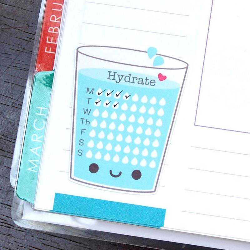 Kawaii Hydration Water Tracker Stickers Super Cute Kawaii