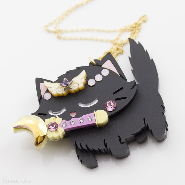 kumacrafts kawaii black cat sailor moon necklace