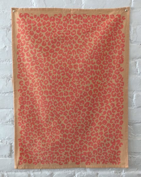 peach leopard print towels