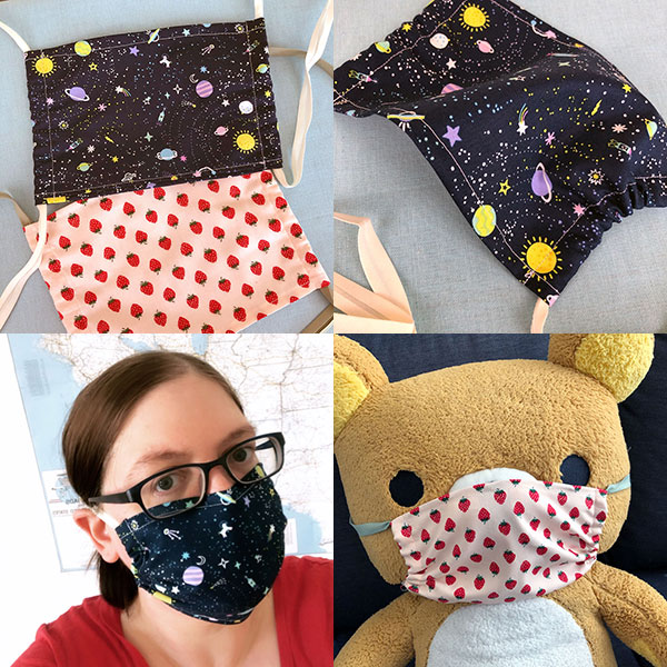 DIY kawaii fabric face masks