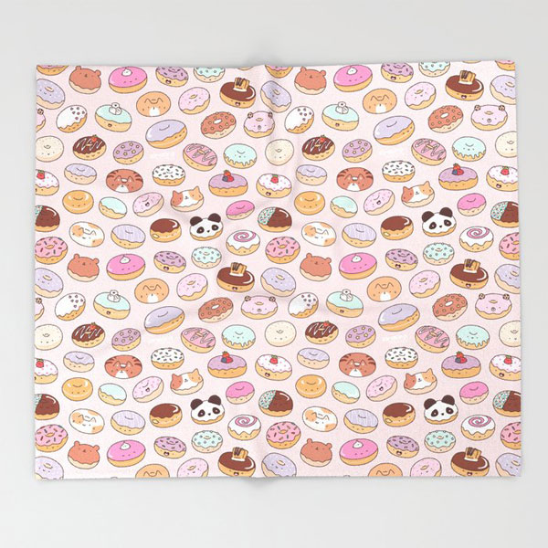 kawaii donuts throw blanket