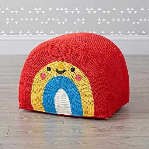 kawaii rainbow pouf