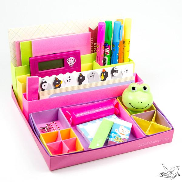 Origami Desk Organiser Tutorial Paper Kawaii 01 Super Cute Kawaii