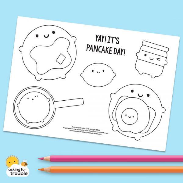 Pancake Day colouring sheet