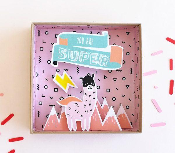 Kawaii Papercraft Matchbox Diorama - Llama