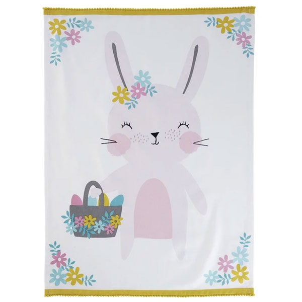 kawaii easter bunny tea towel