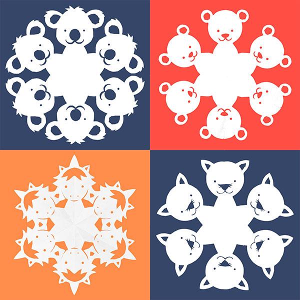 animal paper snowflakes