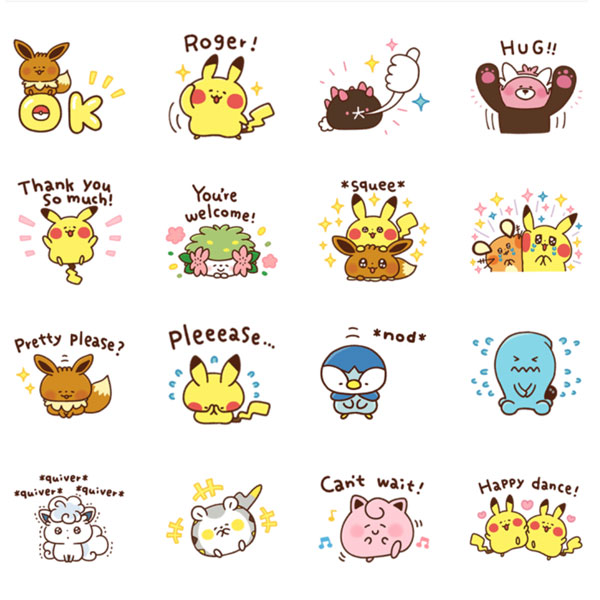 Kawaii Message Stickers - LINE pokemon