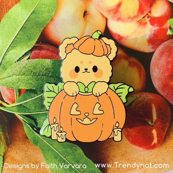 Kawaii Halloween Enamel Pins - pumpkin bear
