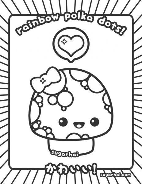 kawaii mushroom free colouring page