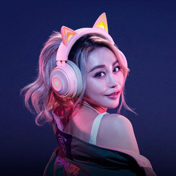 kawaii cat ear gamer headphones