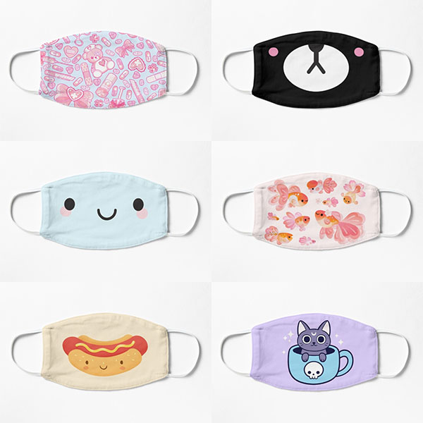 kawaii fabric face masks