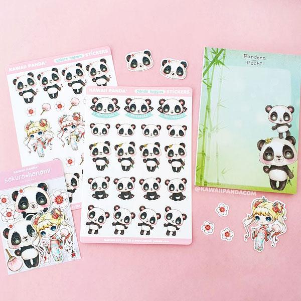 kawaii panda stationery