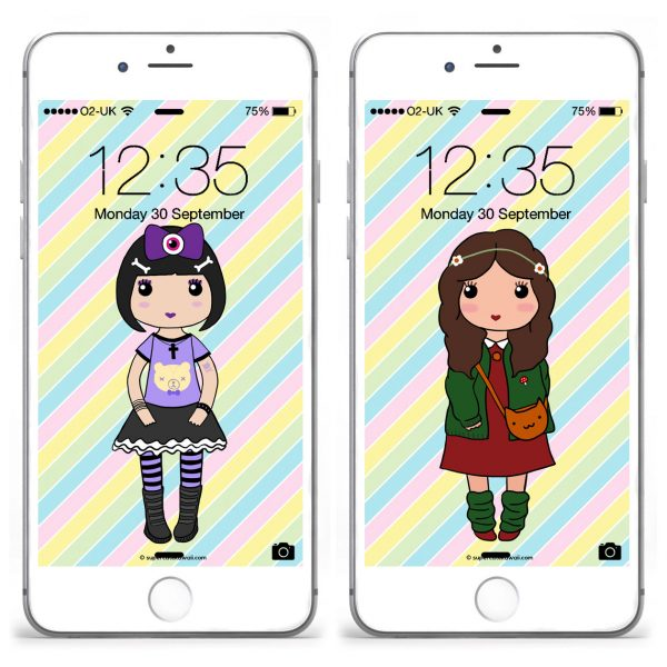 Kawaii Fashion Wallpapers Set