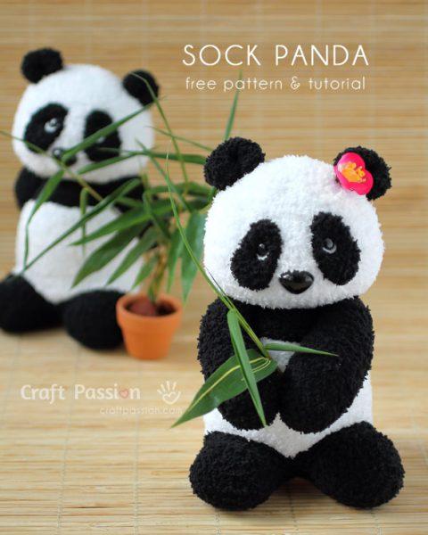 kawaii panda sock plush
