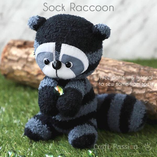 diy raccoon sock plush