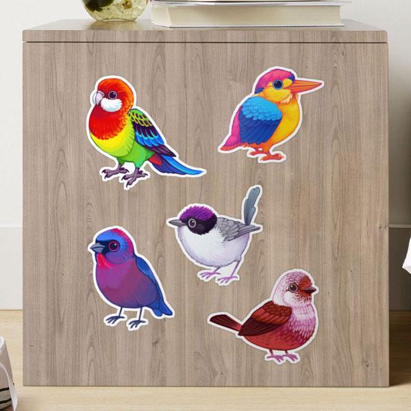 pride flags bird stickers
