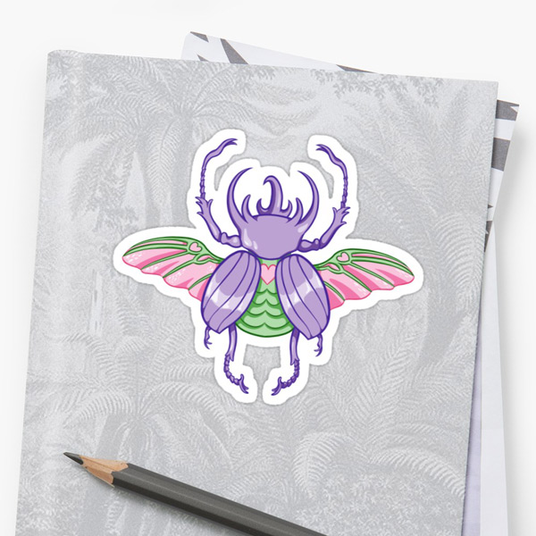 kawaii wish list - pastel beetle sticker