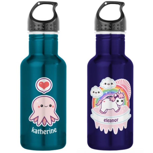 kawaii personalised water bottle