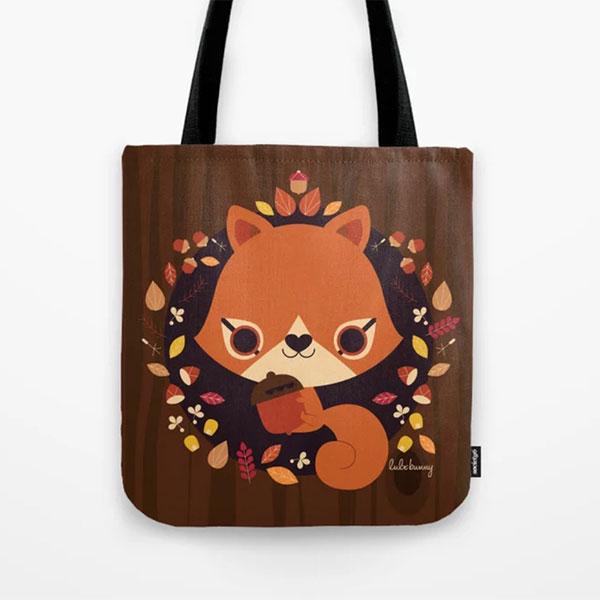 cute squirrels tote bag