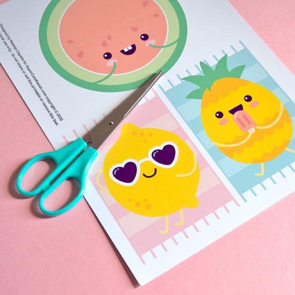 Kawaii Summer Fruit free Printable Cards