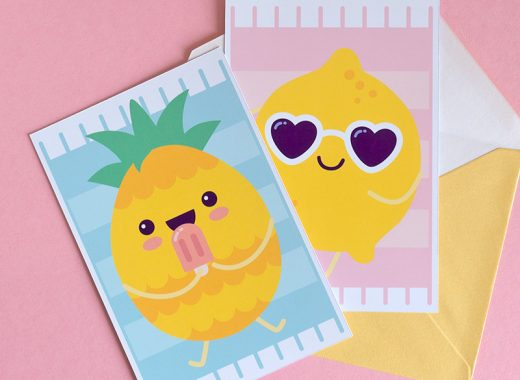 Kawaii Summer Fruit free Printable Cards
