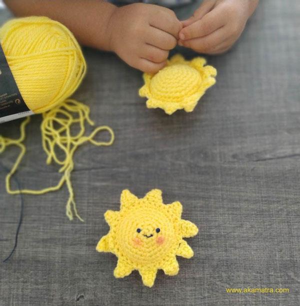 kawaii sun amigurumi crochet pattern
