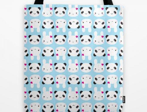 bunny panda tote bag