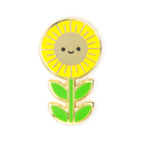 kawaii sunflower enamel pin