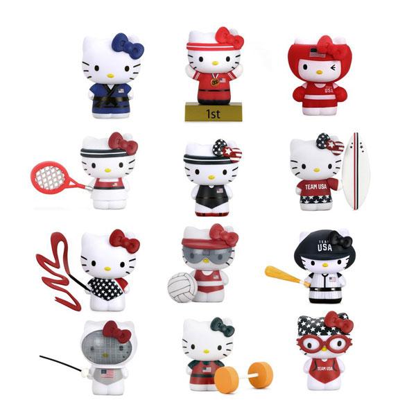 Team USA Hello Kitty viny figures