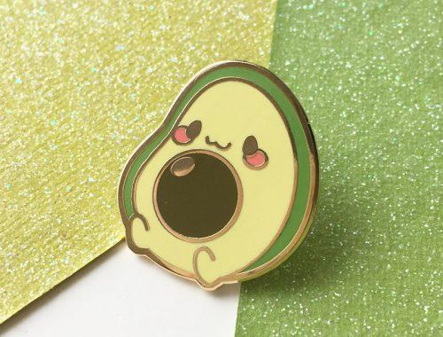 kawaii avocado enamel pins