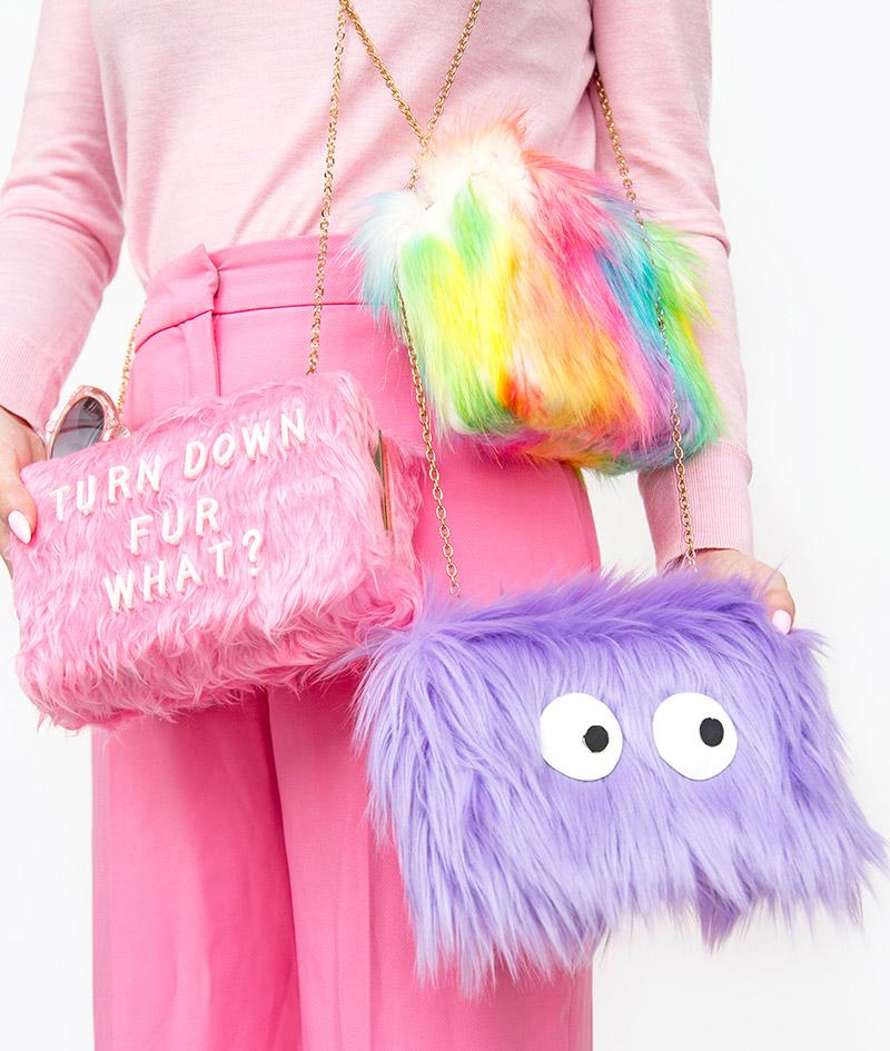 free DIY patterns - fake fur monster bag