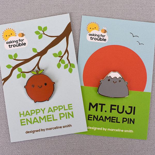 kawaii apple fuji enamel pins