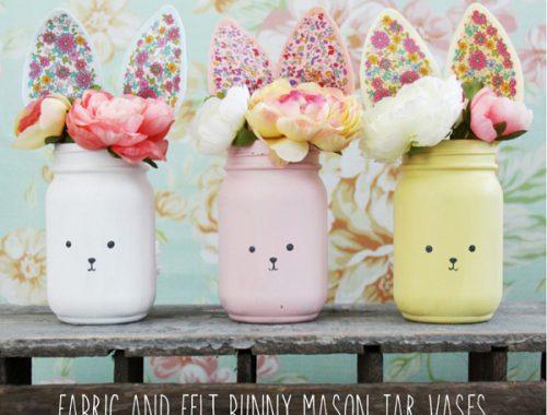free easter crafts - bunny mason jars