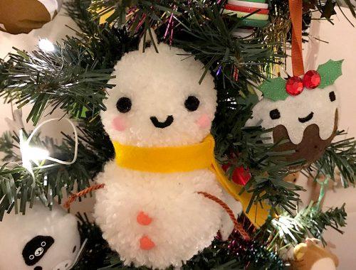 Kawaii Pom Pom Snowman DIY